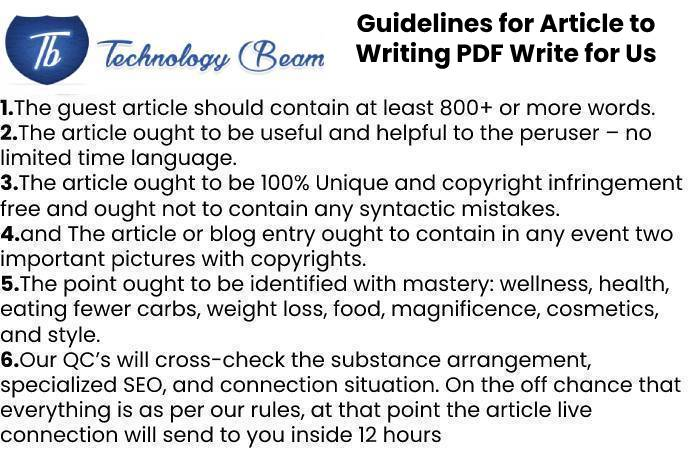 Guidelines for Article to Writing PDF Write for Us