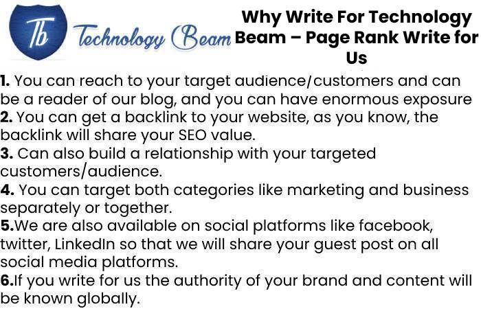 Why Write For Technology Beam – Page Rank Write for Us