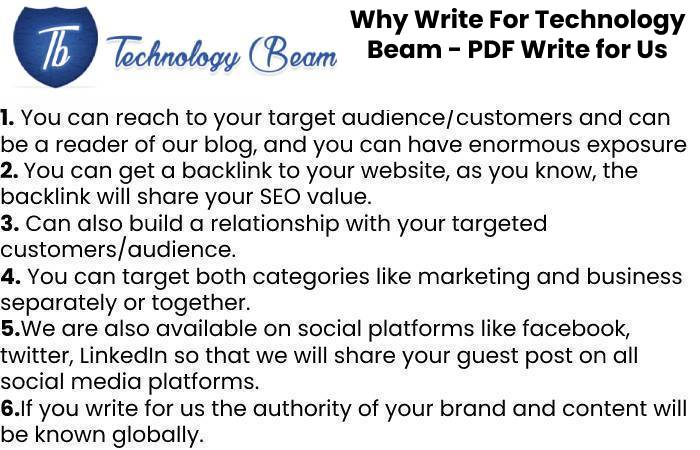 Why Write For Technology Beam - PDF Write for Us