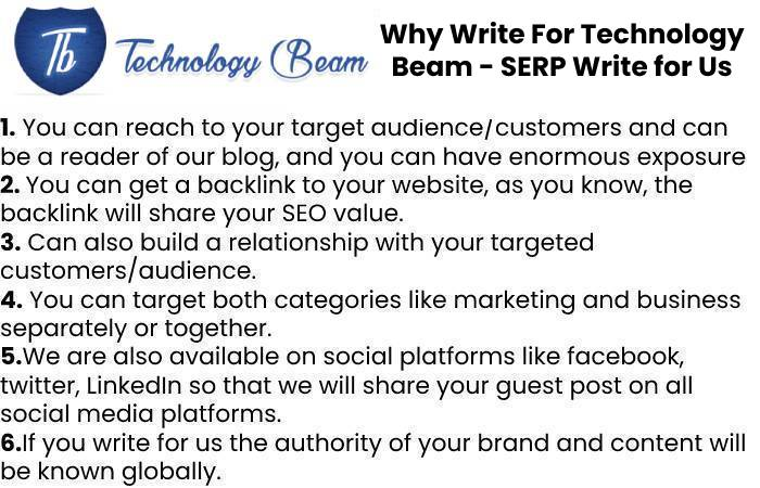 Why Write For Technology Beam - SERP Write for Us