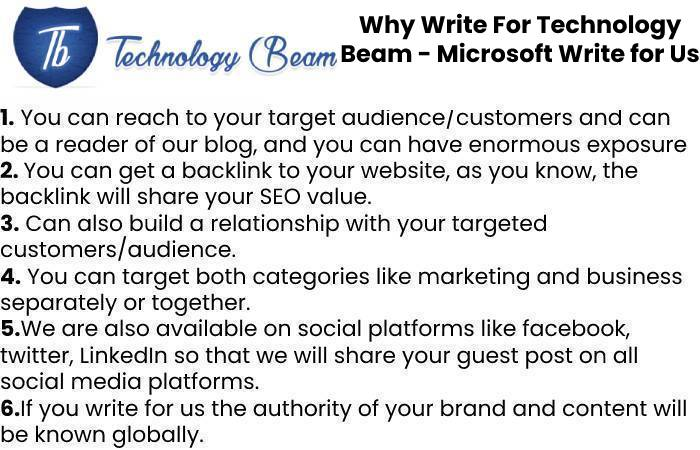 Why Write For Technology Beam - Microsoft Write for Us