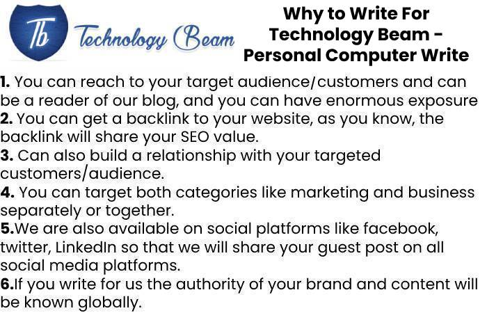 Why to Write For Technology Beam - Personal Computer Write for Us