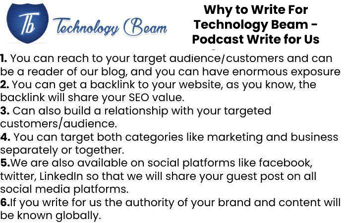 Why to Write For Technology Beam - Podcast Write for Us